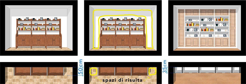 Librerie in Cartongesso nel Soggiorno Sartoriale - Casa Veronica