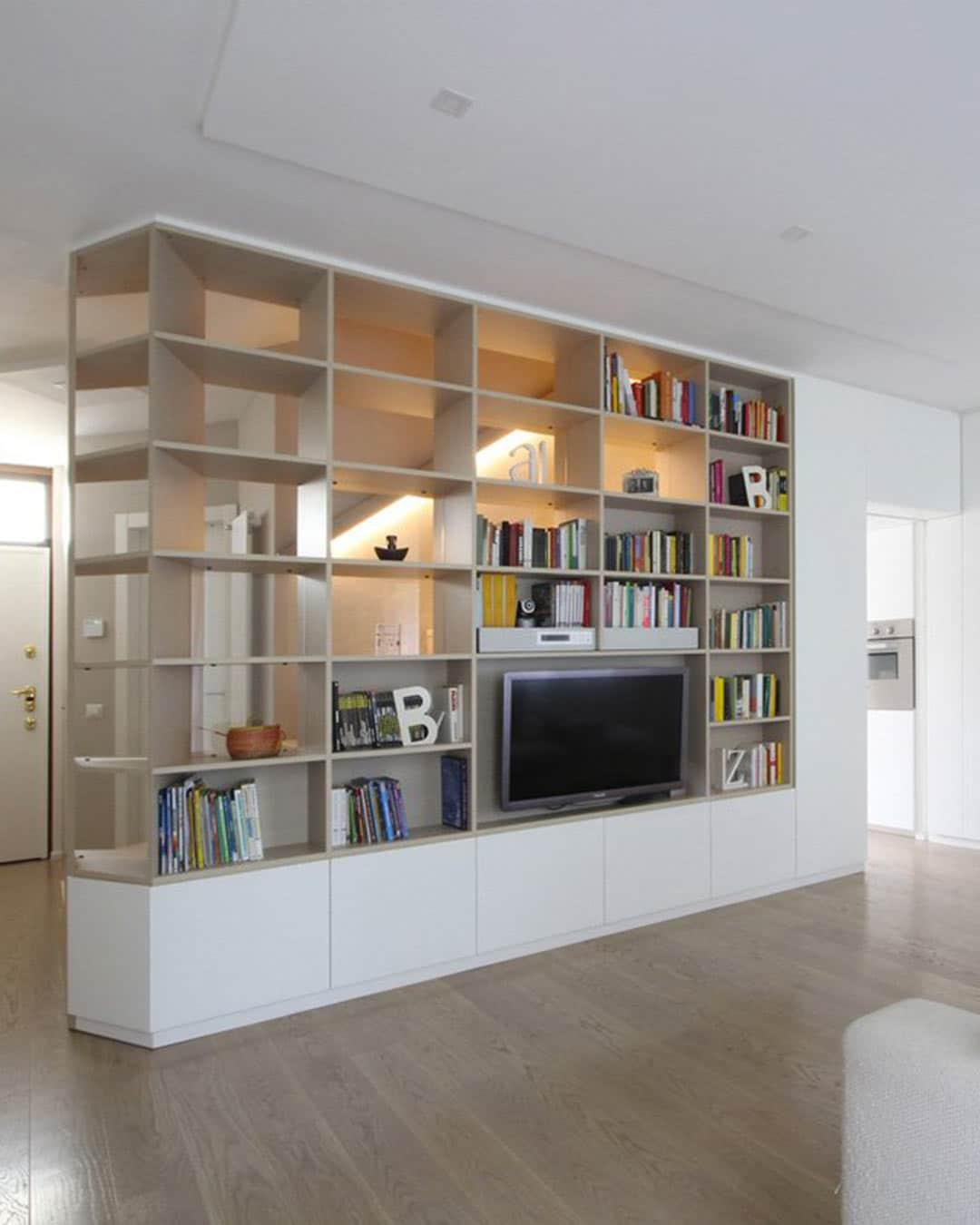 Parete Attrezzata Libreria Porta TV | JDF FurniWall Arredi Strutturali