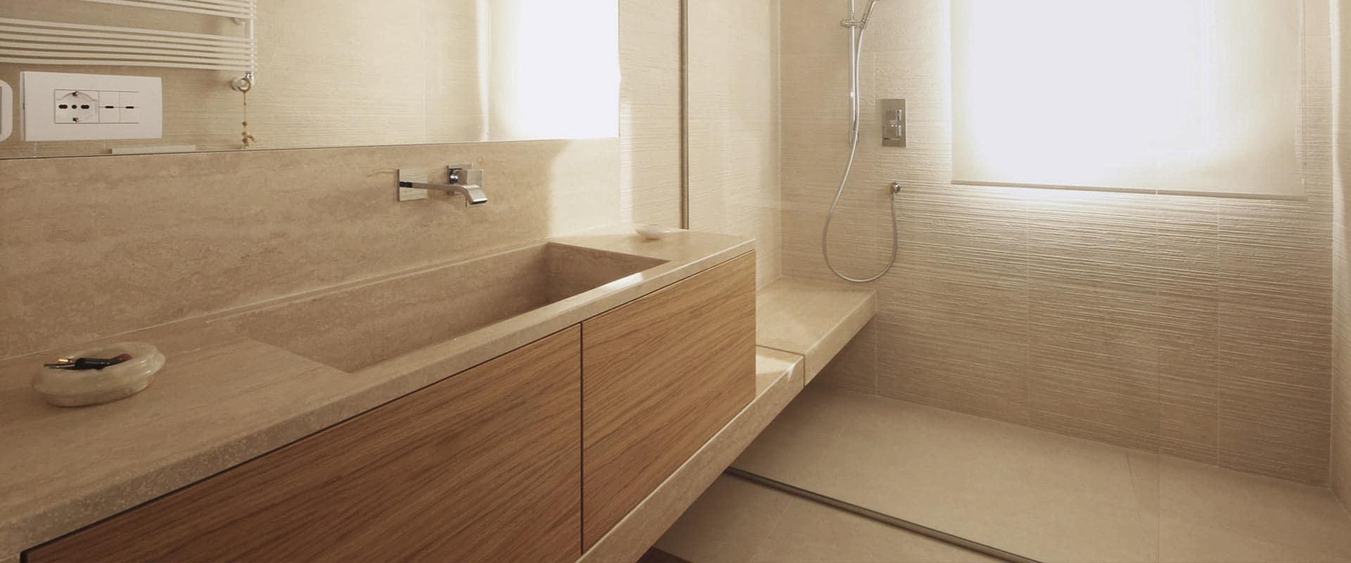 Mobile Bagno su Misura in Marmo e Legno | JFD Design Milano Monza
